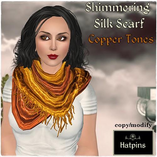 Hatpins - Silk Scarf - Copper Tones