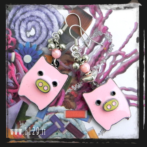 MDPIGG orecchini rosa maialino piggy pink earrings 1129
