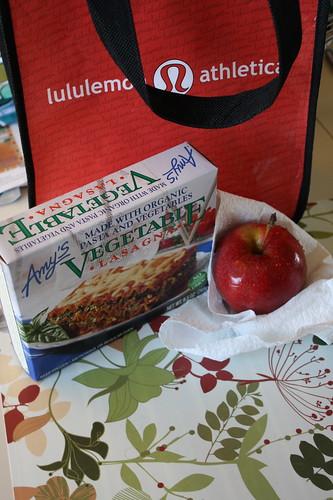 Amy's vegetable lasagna; apple