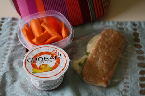 chobani peach, carrots and red peppers, turkey sandwich