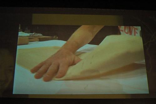 Tobie Puttock's apple strudel - stretching dough