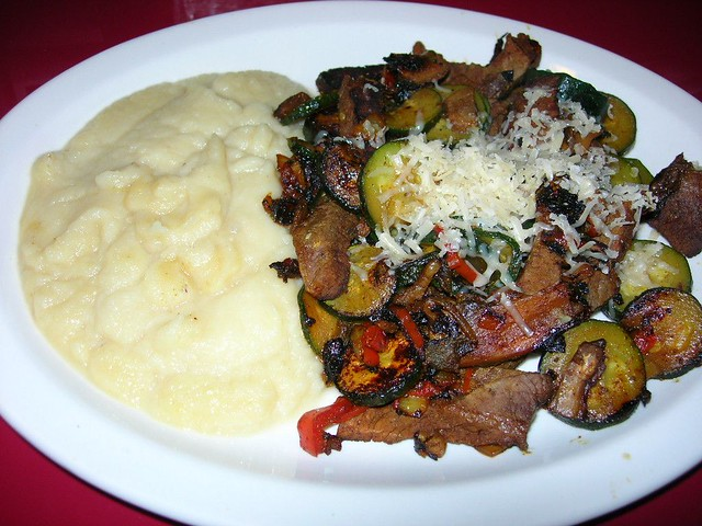 Apple-Celeriac Puree with Sauteed Beef and Veggies