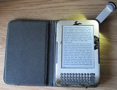 Front of Kindle with new skin and cover with light