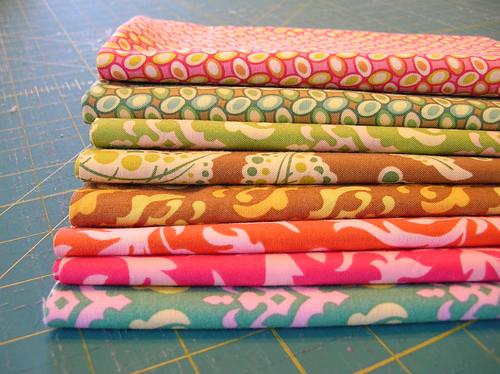 stack of freshcut fabric
