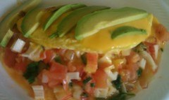 Crab & avocado omelet