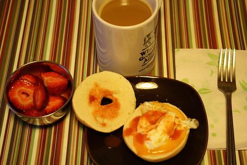strawberries, mini bagel with egg white, cheese, coffee