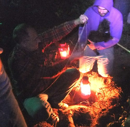 Mark and Neal lowering a lantern