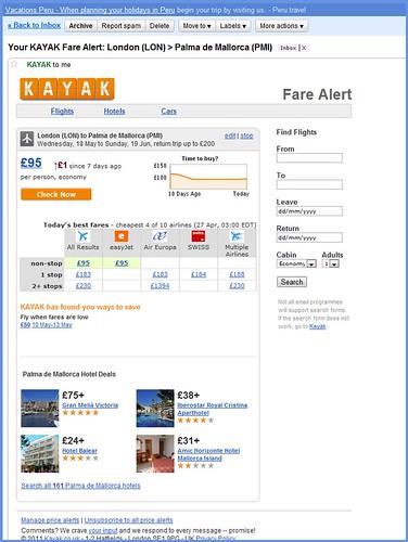 Email alert: Kayak.com
