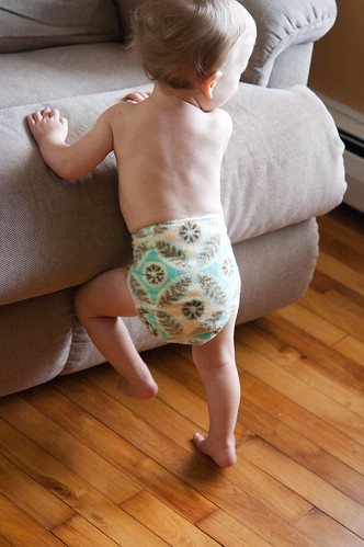 cloth diapered baby