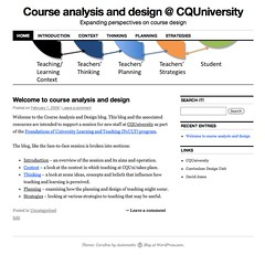 Home page for course design blog