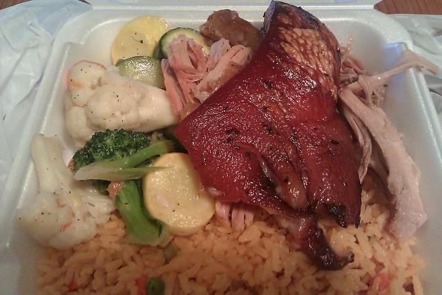 Pernil w/ yellow rice and veg