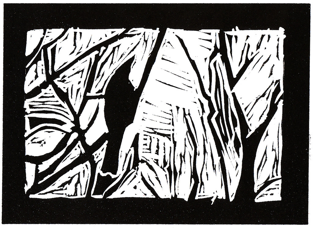 linocut: bird in tree: black print