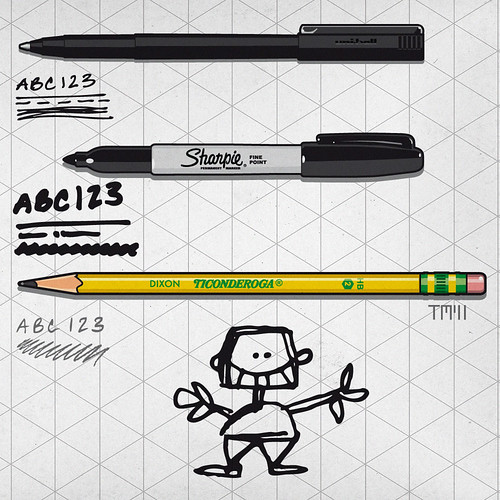 Pens For Easy Sketches: Pencil, Sharpie, Uniball Microball