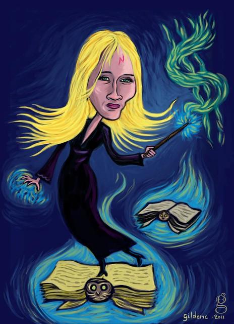 J. K. Rowling's Magic Touch - caricature par Gilderic