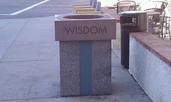 Wisdom. Trash.  I always find wisdom in a trash can.