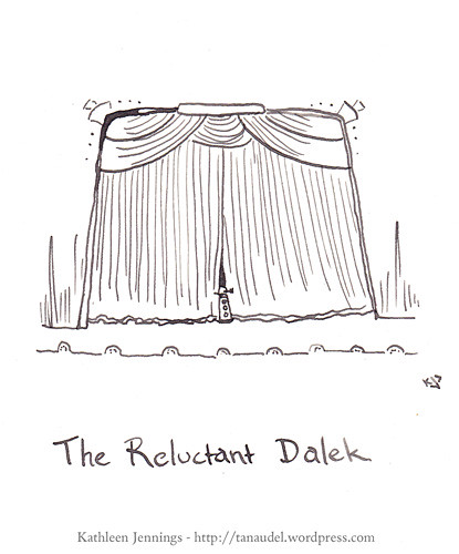 Pen and Ink drawing of a Dalek peering out from behind a stage curtain