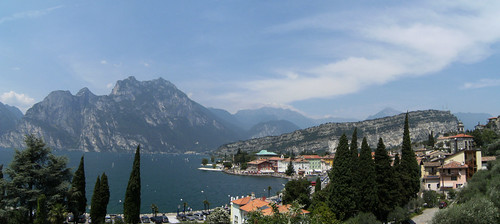 view of Torbole and Monte Brione from Parco Busatte