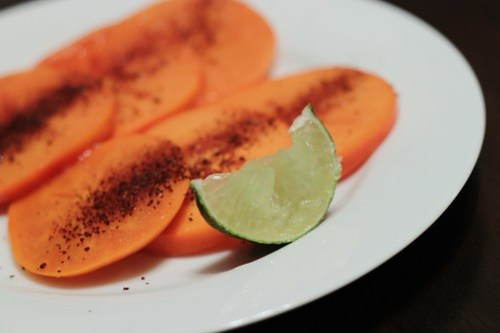 persimmons with chile and lime
