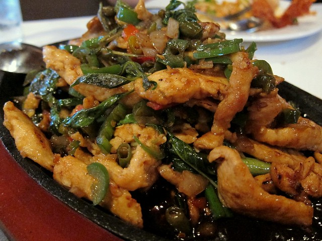 peter chang's - chicken with three peppers in hot iron plate
