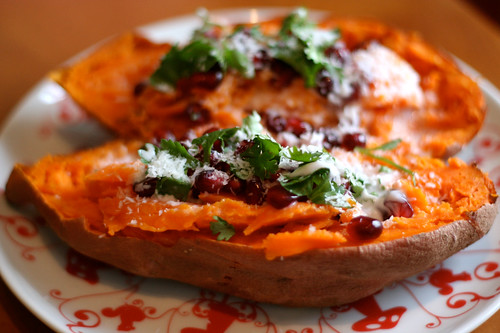 Sweet Potato with Pomegranate, Coconut and Lime