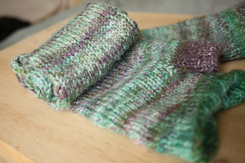 handspun reading mitts rolled
