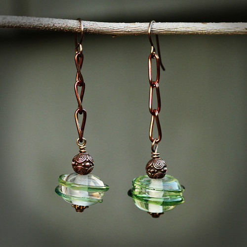 Funky, artisan created green glass earrings
