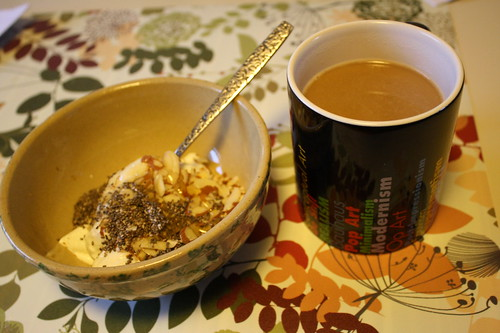 yogurt with chia seeds, honey, almonds; coffee