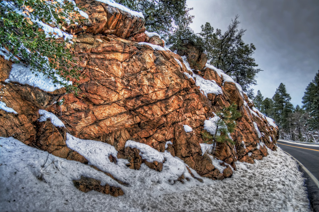 Roadside Snow and Stone