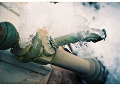 Old water hose in the winter