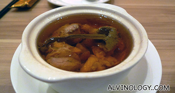 Mexican mushroom chicken soup - very tiny bowl