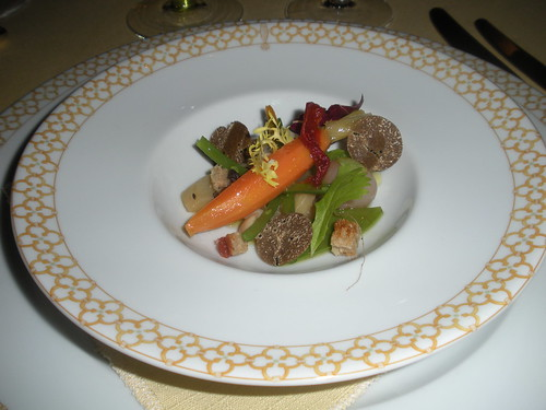 Fricassee of autumn vegetaqbles cooked barigoule style, truffles and seasoned toast