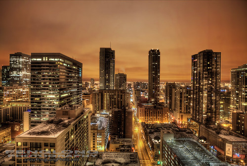 Chicago Downtown Cityscape Night View HDR