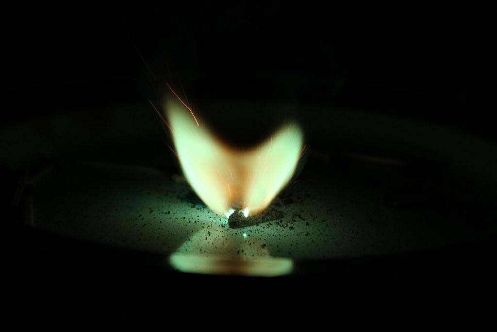 Green firework flame III by Philippa Warr