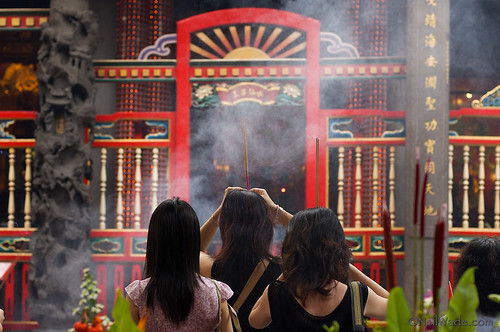 Smoke at Longshan Temple, Taipei Taiwan