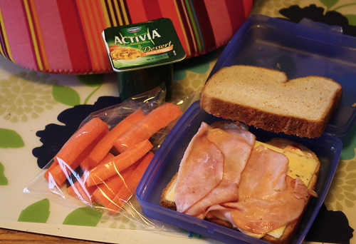 carrots, activia, ham and cheese sandwich