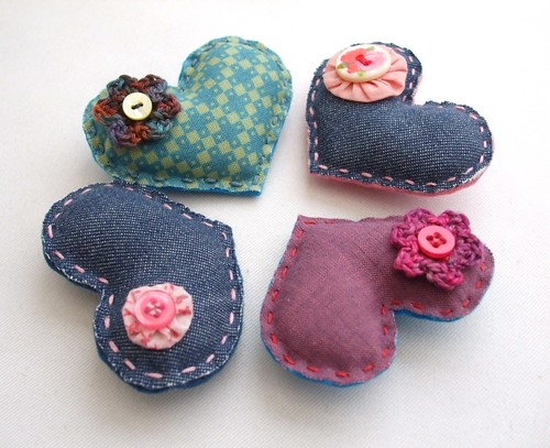 Valentine heart brooches - fabric and crochet