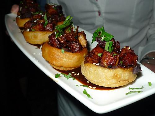 Pork Belly Sopes, Salsa Negra, Sesame