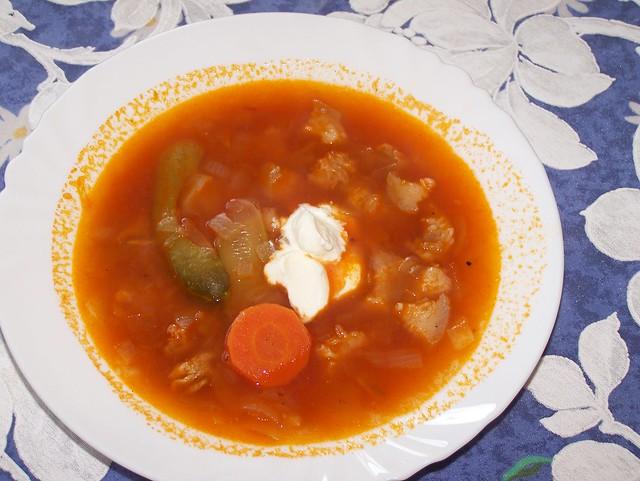 Alles ein bischen kleiner geschnitten und die Suppe etwas dünner, dann wär es Soljanka.