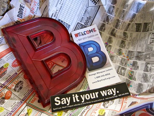 Letter B - Vintage Marquee Letter From Bay City Cargo