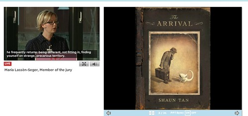 Maria Lassèn-Seger and cover of The Arrival by Shaun Tan