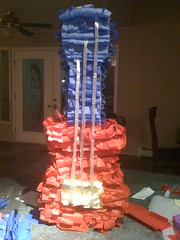 The guitar piñata is done! Only to be reduced to bits tomorrow...
