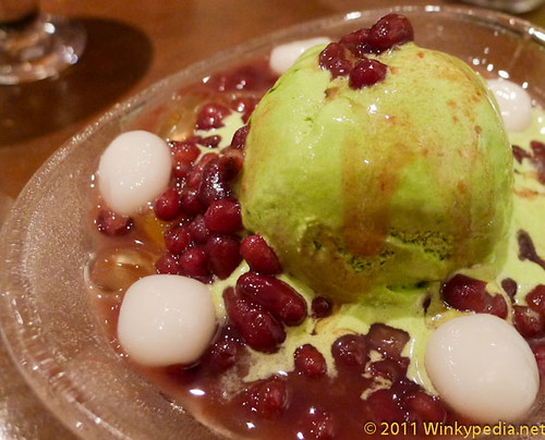 Matcha Azuki (Matcha ice-cream with agar jelly, rice dumplings, red beans and matcha shaved ice) at Candy Cafe, London