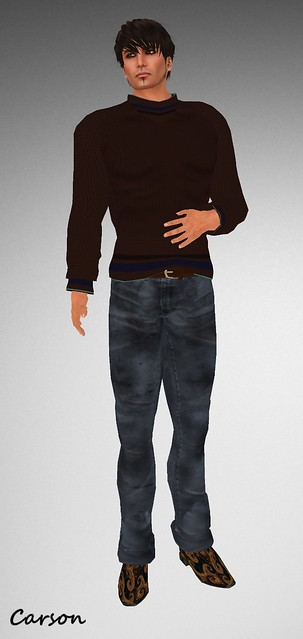 His Closet Collection jeans dirty blue, G&T Creations Brown Sweater, Fear & Clothing Frankie Shoes
