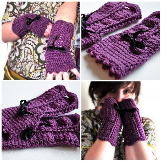 fingerless gloves with a bow