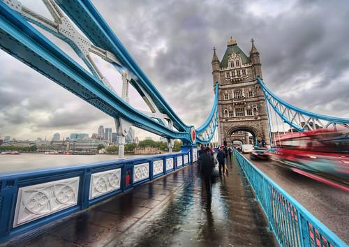 Crossing Tower Bridge in the Rain by Stuck in Customs