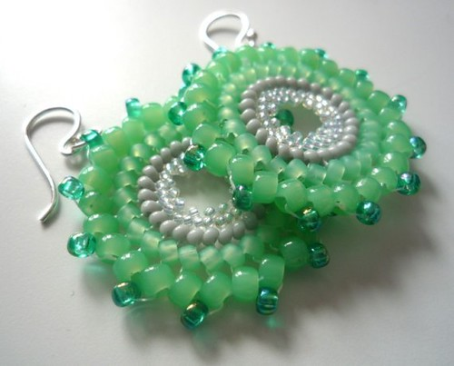 Etsy snapdragonbeads Mint Julep Concentric Collection Earrings $25 GBP aka $42 US