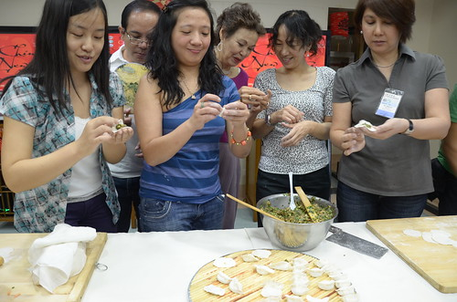 Ladies doing dumplings