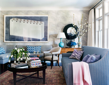 Kristen Panitch navy living room
