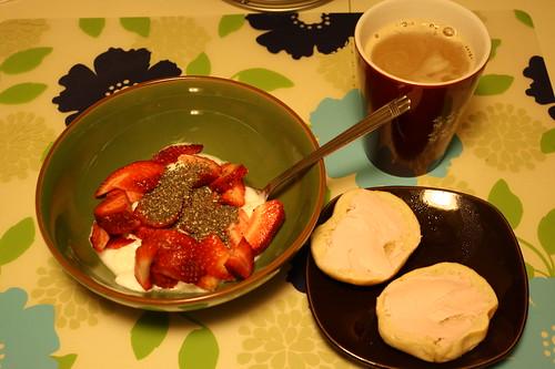 yogurt, strawberries, chia seeds, mini bagel with strawberry cream cheese