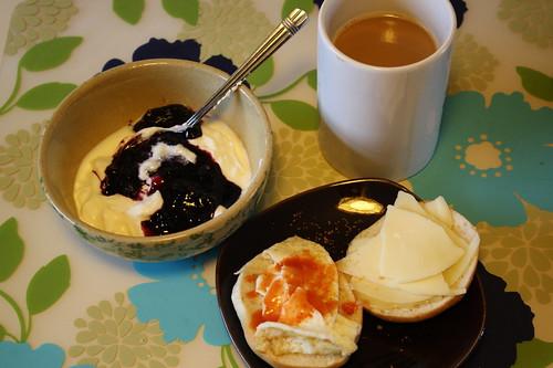 yogurt, egg sandwich, coffee
